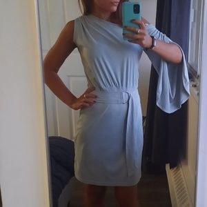 Microsuede asymmetric Dress in pastel blue